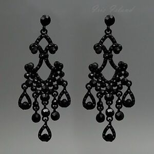 Image Is Loading Black Alloy Jet Crystal Rhinestone Chandelier Drop Dangle