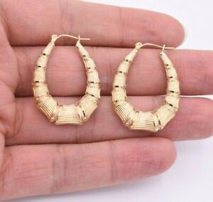 1-3-8-034-Graduated-Oval-Diamond-Cut-Bamboo-Hoop-Earrings-Real-10K-Yellow-Gold