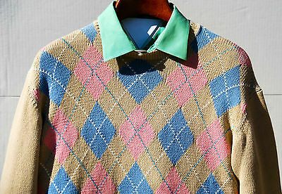 Pringle of Scotland 44 Khaki Blue & Pink Argyle 100% Cotton Sweater/Jumper