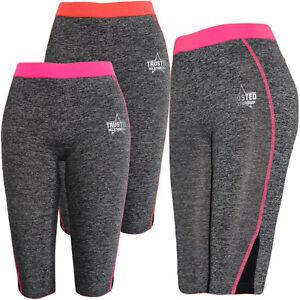 Maedchen-Kinder-Freizeit-Capri-Leggings-Hose-Training-Leggins-Sporthose-Melierte