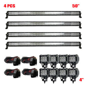 4X-LED-Work-Light-Bars-50inch-Flood-Spot-SUV-Truck-Driving-Offroad-For-Jeep-Ford