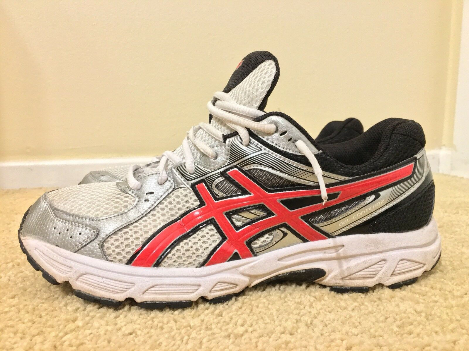 Asics Gel-Contend 2, T426N, Blanc/Noir, Homme Running Chaussures,