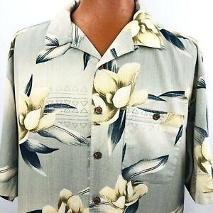 Boca Classics Hawaiian Aloha Xxlt Beige Magnolia Flower Tapas Shirt