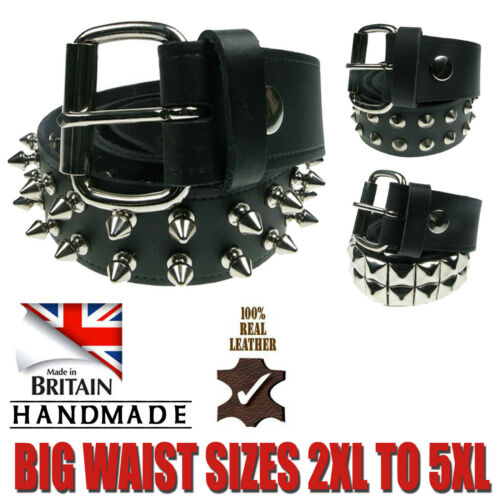 """Strong Tough Jeans Wear Big Waist Sizes1.5/"""" Studded Real Leather Belt Made In UK"""