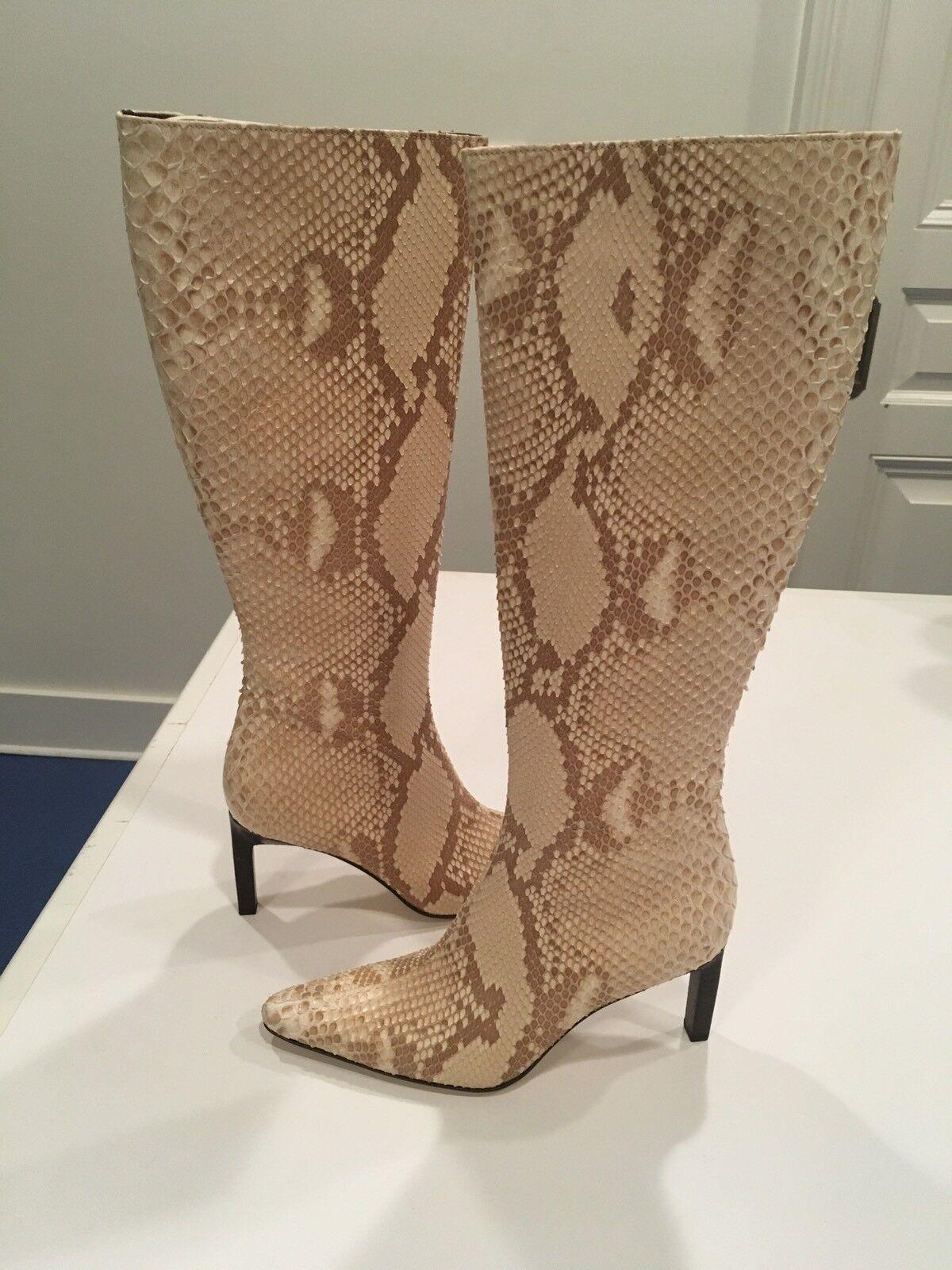 NIB Ralph Lauren Brenda Blond Python Snake Skin  Leather stivali Sz 6.5B, Orig  1100  rivenditore di fitness