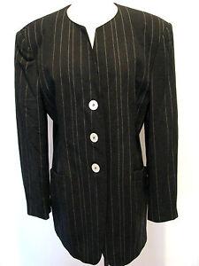 26557b140fcb32 ESCADA Black With White Striped Design 100% Wool Blazer, Jacket ...