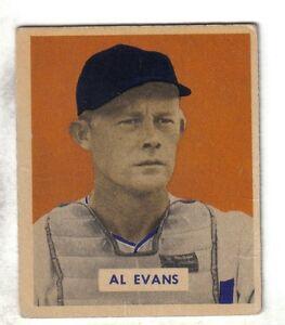 1949-Bowman-Baseball-Card-132-Al-Evans-Washington-Senators-EX