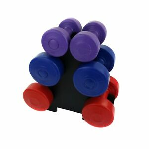 NEW-12kg-Vinyl-Hand-Dumbbell-Workout-Weight-Set-Including-Stand