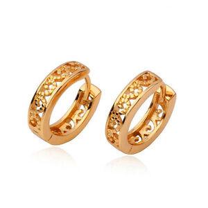 Vintage-Dainty-14K-Real-Gold-Filled-Filigree-Womens-Hoop-Huggie-earing-14MM