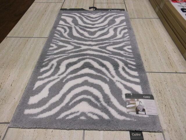 Cawö Badteppich Instinct Zebra 562 FB. 76 Größe 60 cm x 100 cm Grau   Weiß