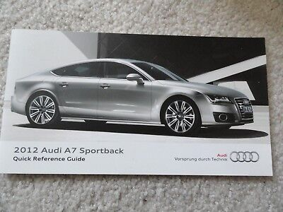 2012 Audi A7 Sportback Quick Reference Guide Owners Manual