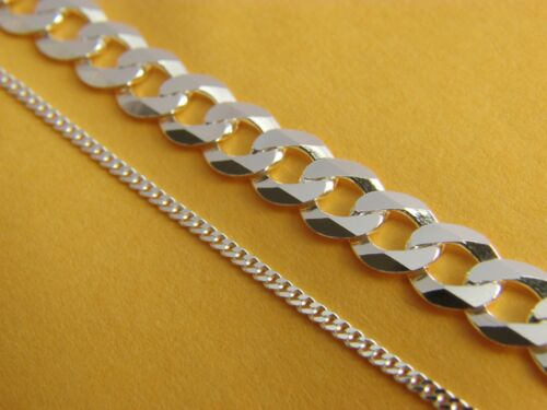 REAL .925 STERLING SILVER Curb Chain Necklace REAL SILVER Mens Chain