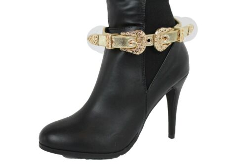 Correa Cuero Zapato De 2 Moda Mujer Pulsera Botas Doble Dorado Imitación  wZYq0qa c90215dc0319
