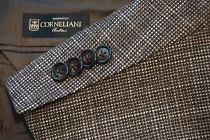 Corneliani-Cashmere-Silk-Blend-Brown-Gray-Woven-Sport-Coat-Jacket-Sz-44R