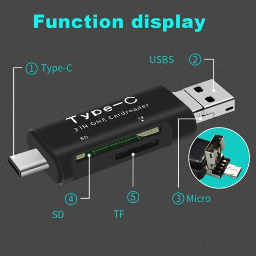 3 in 1 Micro USB Type-C USB 2.0 Card Reader SD TF Card OTG Card Reader Adapter