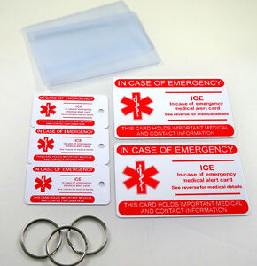 Ice Medical Alert Id 3 Key Fobs With Key Rings 2 Wallet Cards With