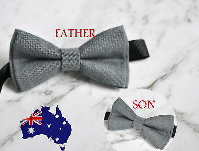 Father Son Match 100/% Cotton Handmade Grey and Rumba Red Bow Tie Bowtie Wedding