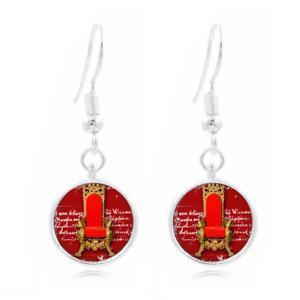 Chaise rouge pourpre verre Boucles d/'oreilles Photo Art Tibet Argent Boucle D/'oreille Bijoux #95