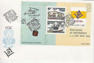 Briefmarken Europa Fdc Aland Block Marienhamn 01.03.1993 Werte 4x 1,90 Ein BrüLlender Handel