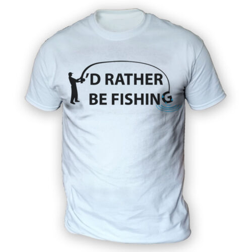 x13 Colours Funny Carp Angling Gift Hobby I/'d Rather Be Fishing Mens T-Shirt