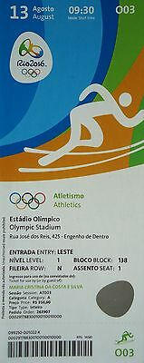 Olympic Memorabilia Dependable Mint Ticket 13/8/2016 Olympic Games Rio Athletics Gold Harting # O03 Rio 2016