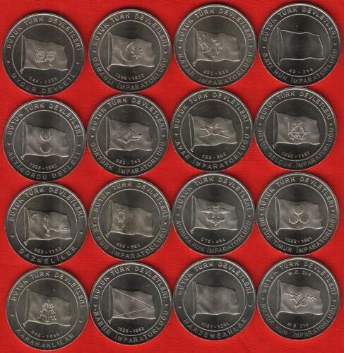"""1 kurus 2015 /""""The Great Turkish Nations/"""" UNC Turkey set of 16 coins"""