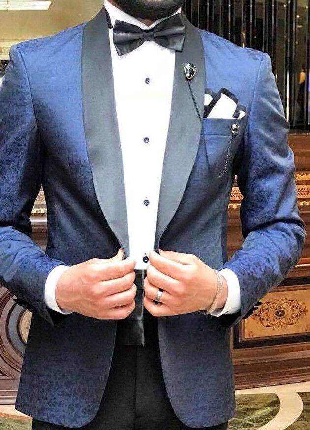 Designer Blau Blaumenmuster Smoking Hochzeitsanzug Herrenanzug Tailliert Slim 48  | Mode-Muster  | Vielfalt  | Einzigartig
