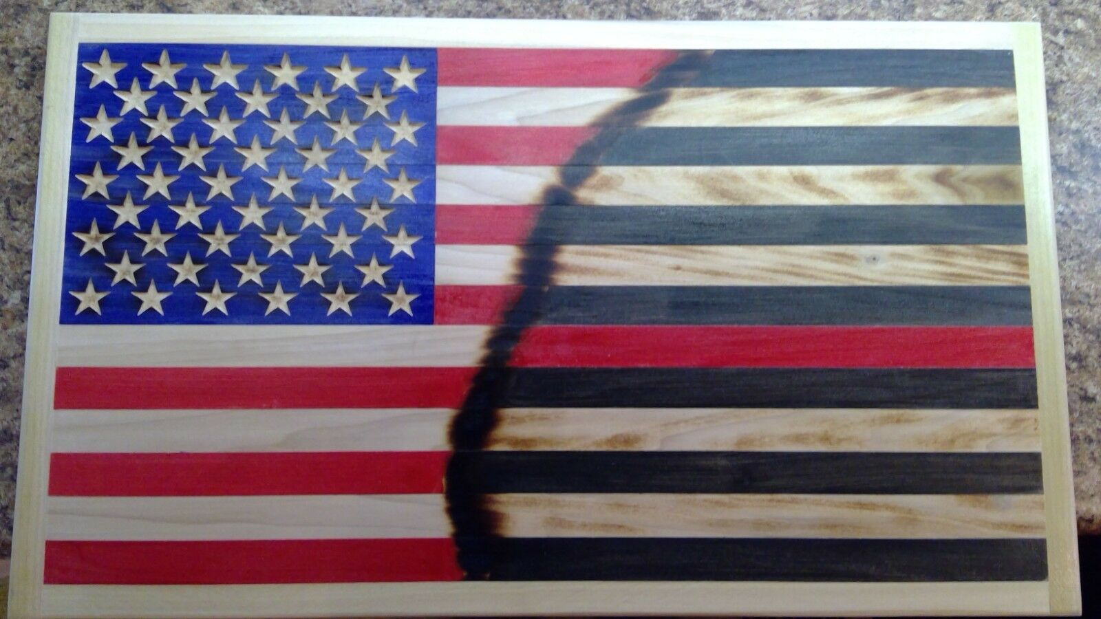Thin rot Line fire fighter  American Wooden Flag,Rustic Flag. 15x26