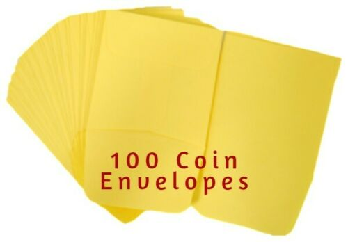 100 Quality Small 2x2 Yellow Paper Envelopes w// Flap Safe Storage Acid Free NEW