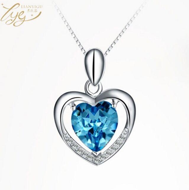 82a5614e6 Fashion 925 Sterling Silver Blue Crystal Love Heart Pendant Necklace Gift  Box E7