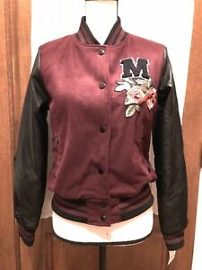 24a97bc8b Details about Madden Girl Juniors' Faux-Leather-Sleeve Bomber Jacket Size S  Varsity Biker NWT