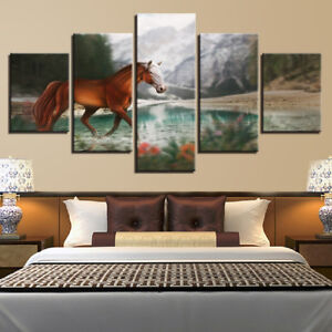 Lonely-Horse-Crossing-River-Mountain-5-Panel-Canvas-Print-Wall-Art-Home-Decor