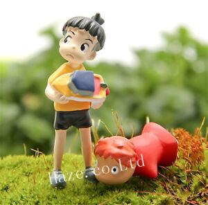 2 un./Set Ponyo en el acantilado de Resina Figuras de Juguete de jardinería Regalo Caliente Nuevo