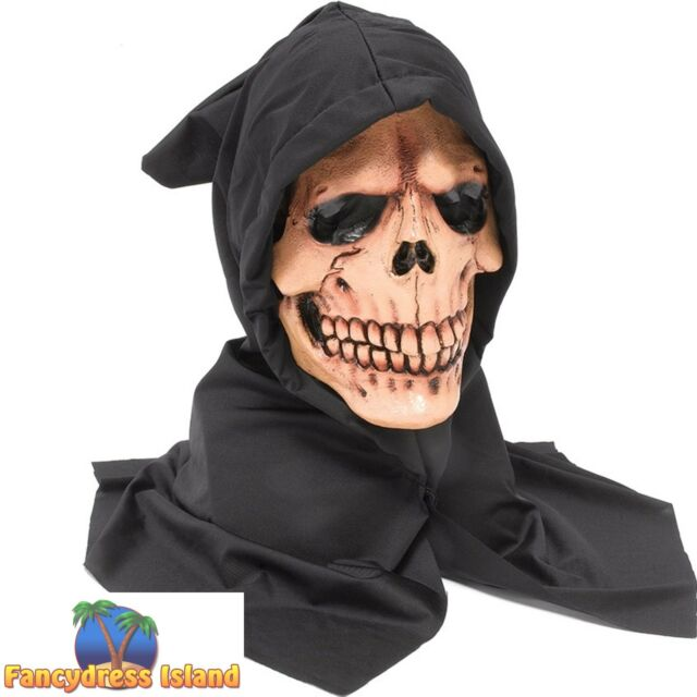 HALLOWEEN HORROR SCARY HOODED SKULL MASK Mens Fancy Dress Costume Accessory