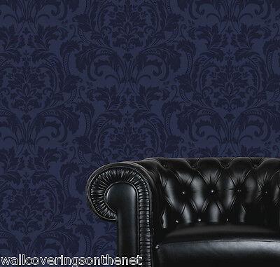 2 ROLLS OF High Gloss, Metalic Blue on Blue, Heavyweight, Designer Wallpaper