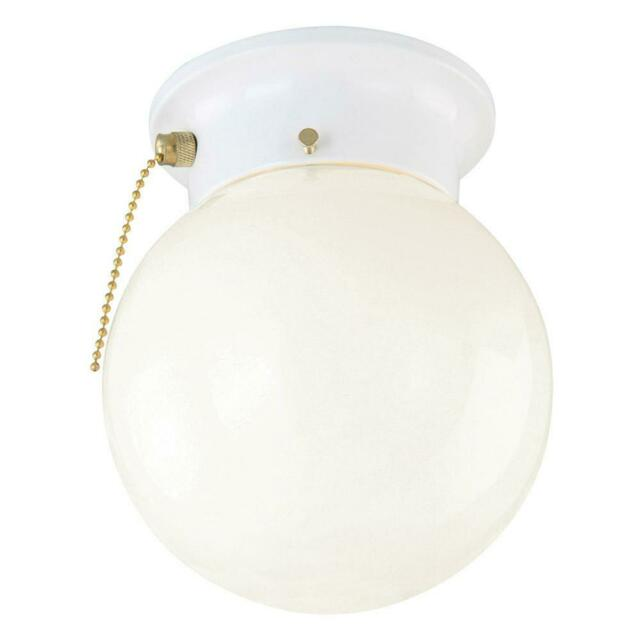 1-Light White Ceiling Light with Opal Glass with Pull Chain by Design House