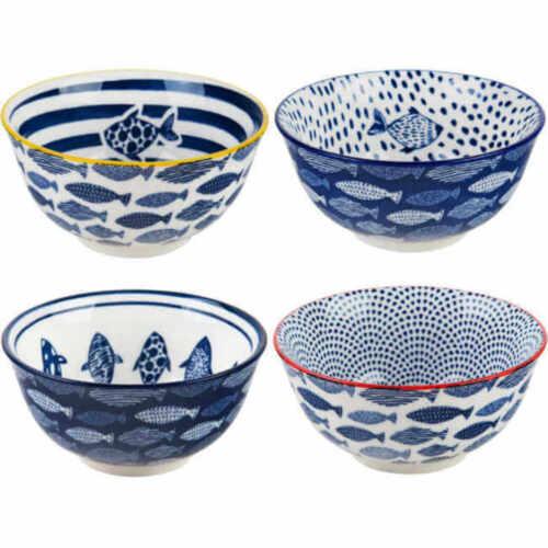 10-oz Fish Pattern Bowls Home Essentials Blue//White 4.5-inch Set of 4
