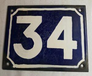 Plate-Enamelled-Numero-34-Blue-And-White-Vintage-Decoration-Entree-De-Holder
