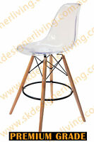 Skdl Replica Eames Dsw Eiffel Bar Stool & Natural Legs - Clear Transparent