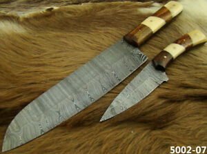 Alistar Set of 2 Handmade Damascus Knives Hunting/ Kitchen/Chef's Knives 5002-7