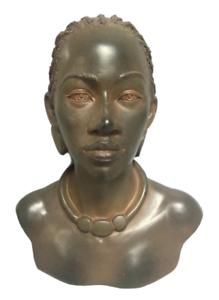 Ethnic-African-American-Female-Bust-Torso-Statue-Beautiful-Design-Rust-Colored