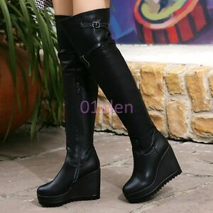 Womens-Winter-Over-Knee-High-Wedge-Heel-Zipper-Long-Riding-Boots-Leather-SHoes