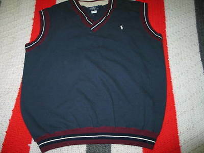 Cosciente Vintage Da Uomo Polo Ralph Lauren Scollo V Gilet Taglia Xl Made In Usa Navy Blu