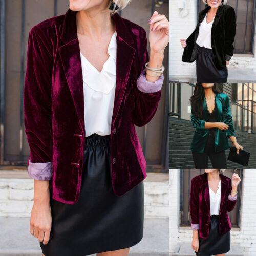 Womens Velvet Blazer Coat Jacket Cardigan Suit OL Casual Open Front Outwear Tops