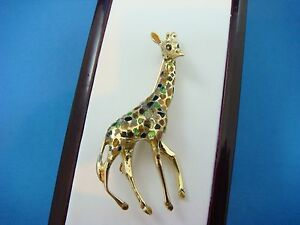 ! EXQUISITE 18K SOLID GOLD LARGE GIRAFFE BROOCH 12.8 GRAMS, 2 INCHES LENGTH