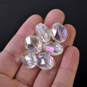 5PCS Faceted Crystal Glass Loose Spacer Beads Pendant Charm 20x22mm#G