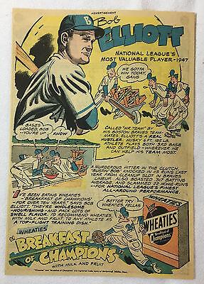 Fanartikel Sport Flight Tracker 1948 Wheaties Bob Elliott Cartoon Ad ~ Boston Braves Dauerhafte Modellierung
