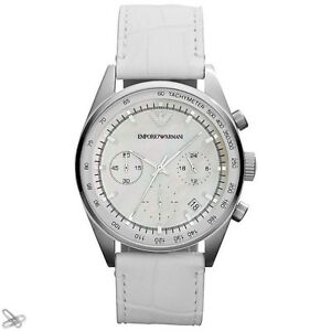 Emporio-Armani-Women-039-s-Watch-Real-Leather-White-AR6011-Chronograph