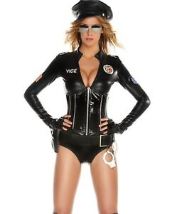 Image is loading HALLOWEEN-SEXY-POLICE-OFFICER-COP-Bodysuit-Costume-4pc  sc 1 st  eBay & HALLOWEEN SEXY POLICE OFFICER COP Bodysuit Costume 4pc | eBay