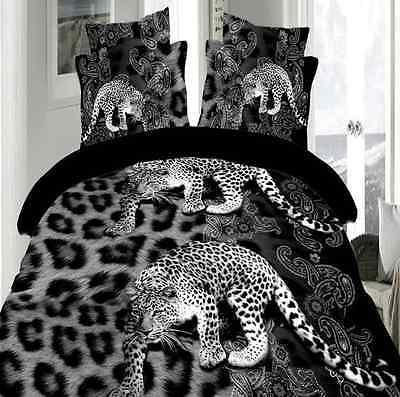3D Duvet Cover Pillow Case Quilt Cover Bedding Set Single Queen King Leopard NEW